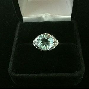 Jewelry - Blue Topaz Art-Deco Ring